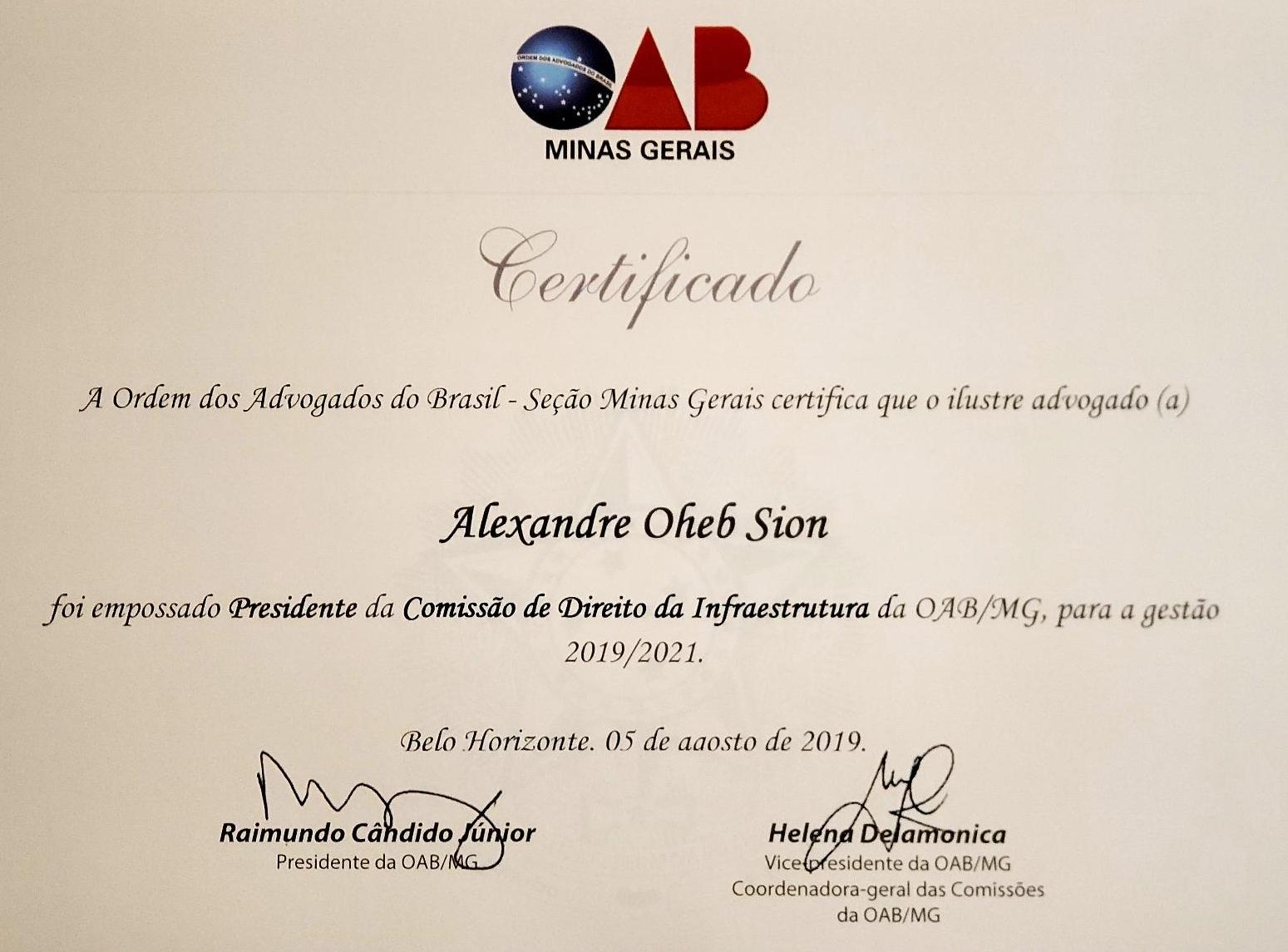ALEXANDRE SION TOMOU POSSE COMO PRESIDENTE DA COMISSÃO DE DIREITO DE INFRAESTRUTURA OAB/MG