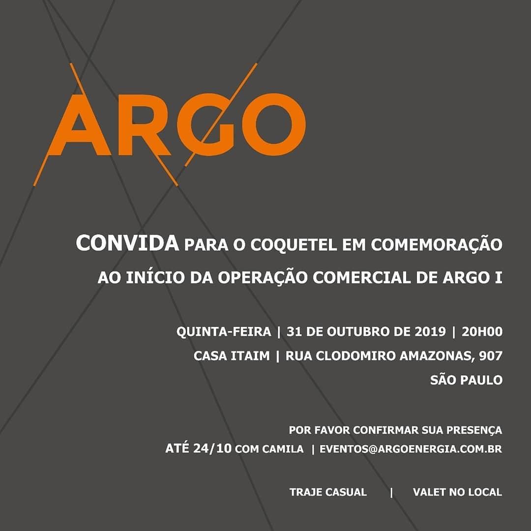 COMEMORAÇÃO ARGO PELO INÍCIO DA OPERAÇÃO COMERCIAL DO PROJETO ARGO I