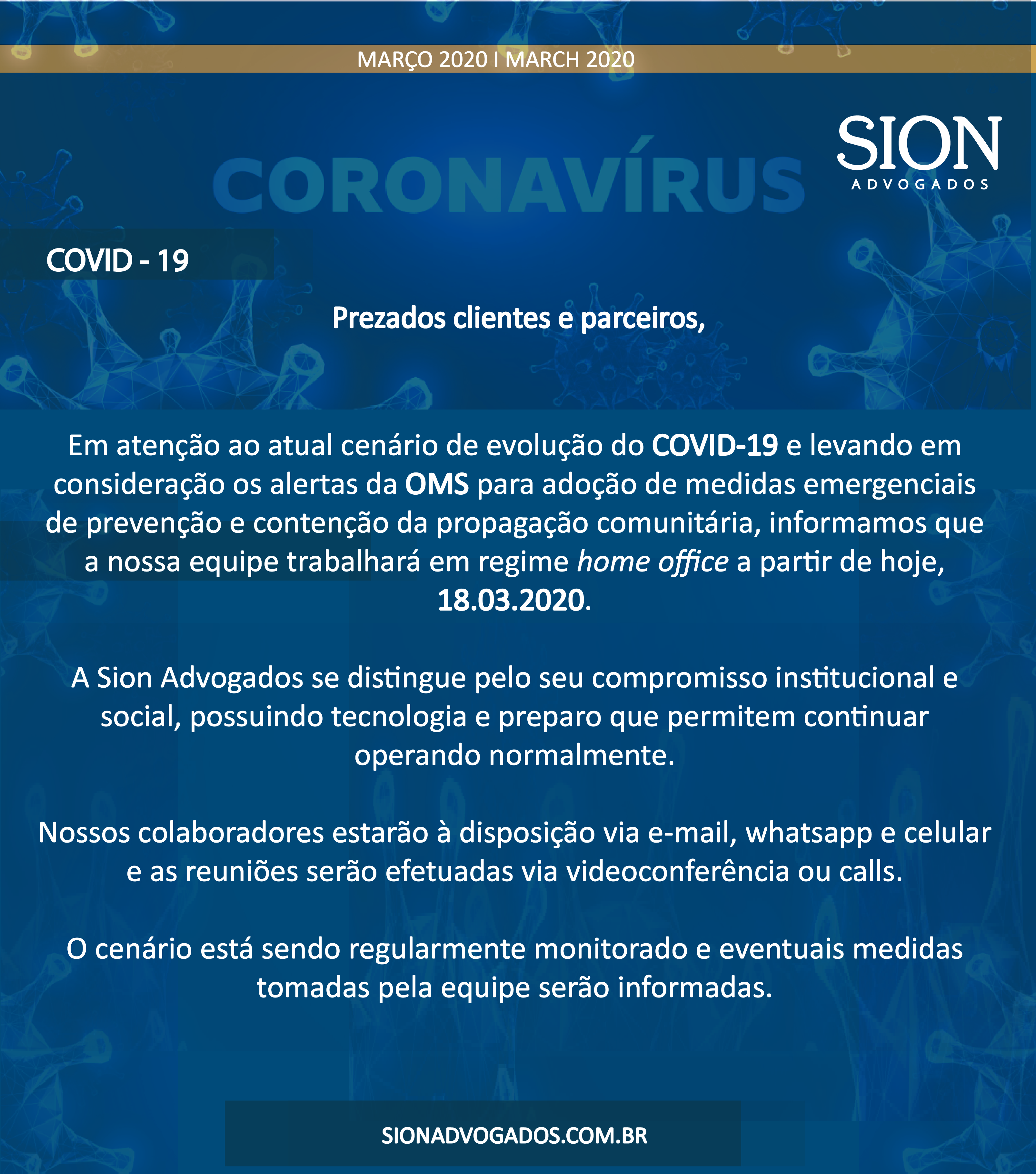 COMUNICADO: COVID – 19