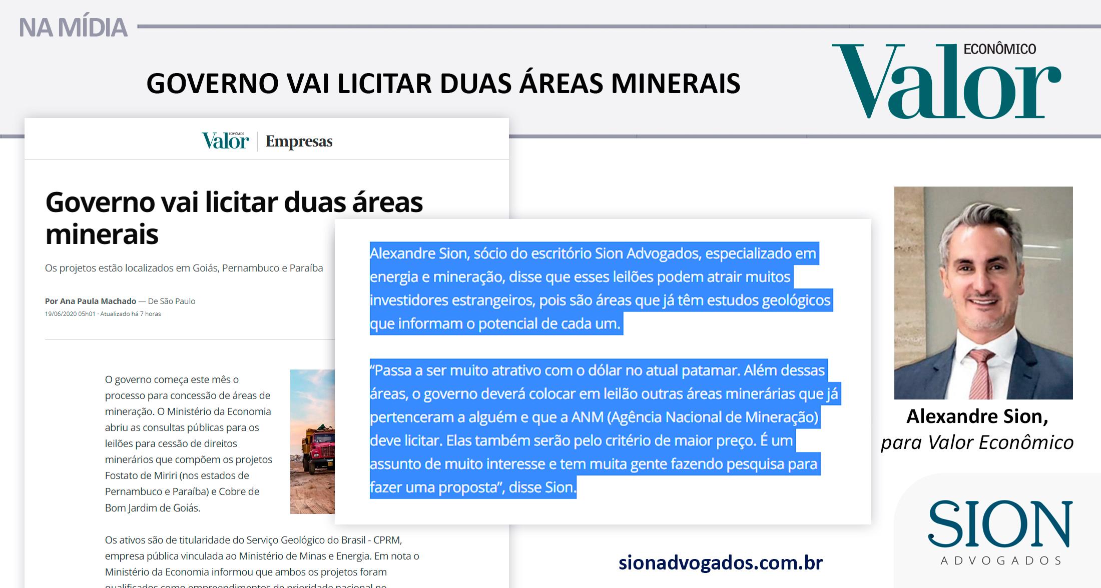 GOVERNO VAI LICITAR DUAS ÁREAS MINERAIS