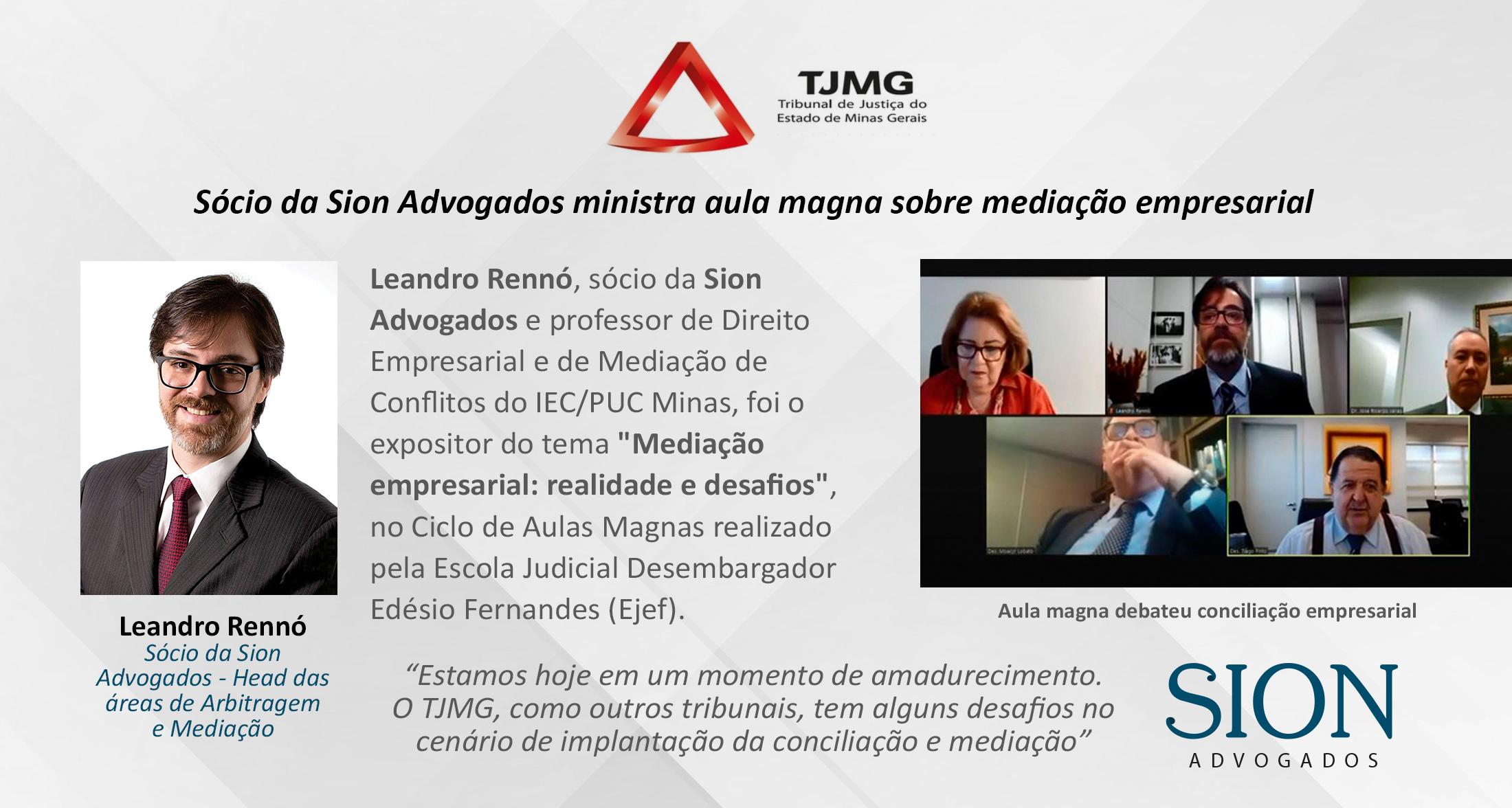 SÓCIO DA SION ADVOGADOS MINISTRA AULA MAGNA SOBRE MEDIAÇÃO EMPRESARIAL